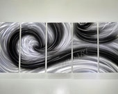"""modern METAL painting Ocean Dance silver black abstract art hand made 64"""" sculpture contemporary brilliant wall decor unique Original Lubo"""