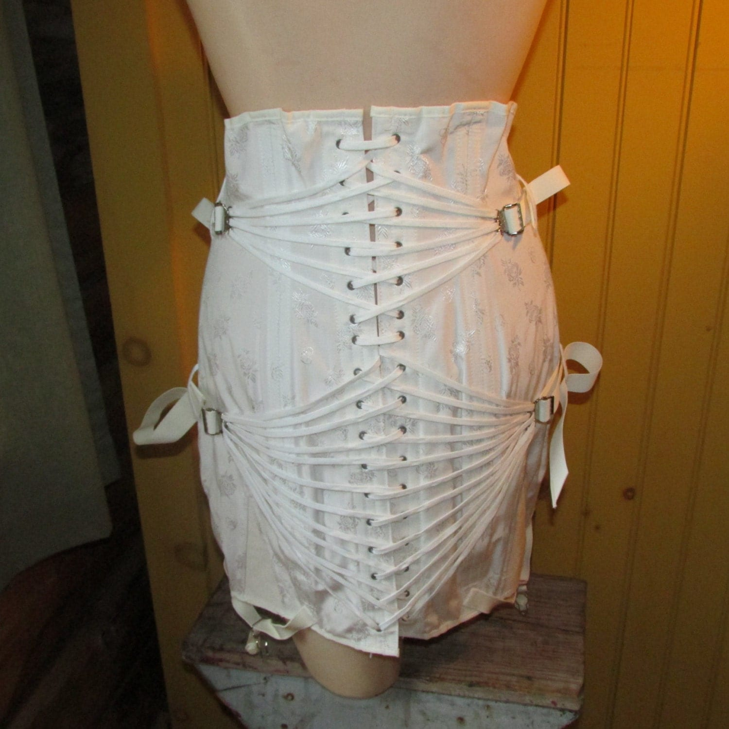Vintage 1960s Camp Girdle Orthopedic Trussed White Cotton