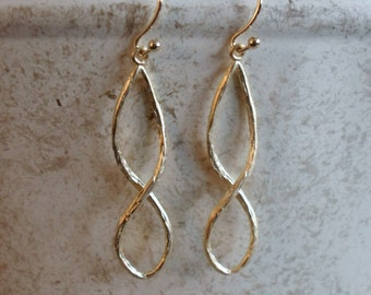 GOLD INFINITY EARRINGS  // Bridal // Love // Texured matte gold // Dangle Earrings // Wedding // Unique gift for her // anniversary gift