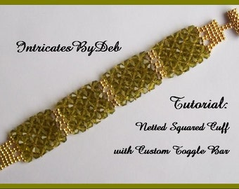 Tutorial Bead Netting Bicone Bracelet with Custom Toggle Bar - Jewelry Beading Pattern, Beadweaving Instructions, PDF, Do It Yourself