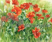 """Poppy Flowers in Patio Garden Meadow, Orange, Red, Black, Green Watercolor Painting Picture Print, Wall Art, Home Decor, """"Pop Pop Poppies"""""""