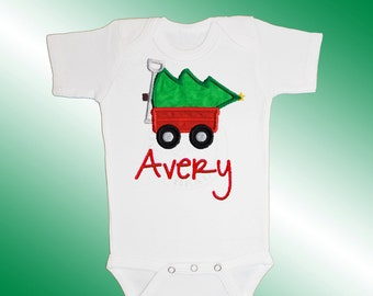 Christmas Bodysuit Baby Clothes - Personalized Applique - Christmas Tree Wagon - Embroidered Short or Long Sleeved - Free Shipping