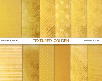 Gold digital paper, gold scrapbook paper, golden digital backgrounds, gold textures - Pack 637
