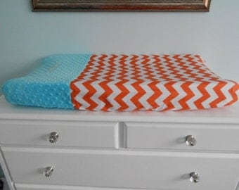 Two Toned Changing Pad Cover - Minky and Chevron - option to monogram