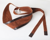 Women's Wide Two Tone Brown Wrap Belt