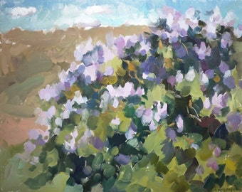 Oil landscape. Original oil painting. Spring landscape. Lilas in the valley.