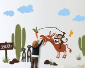 MONKEY & DONKEY - Nursery Wall Sticker Decal