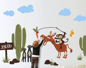 MONKEY and Desert - Nursery Wall Sticker Decal
