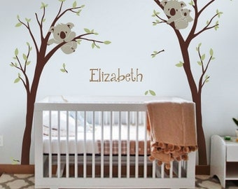 Koalas with Custom Name wall decal - Nursery Wall Decal