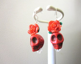 Sugar Skull Earrings Red White Speckled Rose Flower
