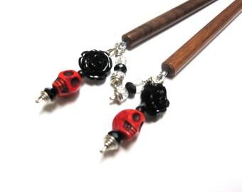 Sugar Skull Hairstick Wood Red Black Rose Hair Stick Set Of Two