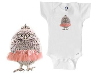 Organic owl onesie, ballet tutu - tiara, baby girl