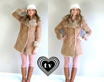 vtg 70s FAUX FUR shearling Pea COAT skinny Medium boho Almost Famous hippie mod jacket