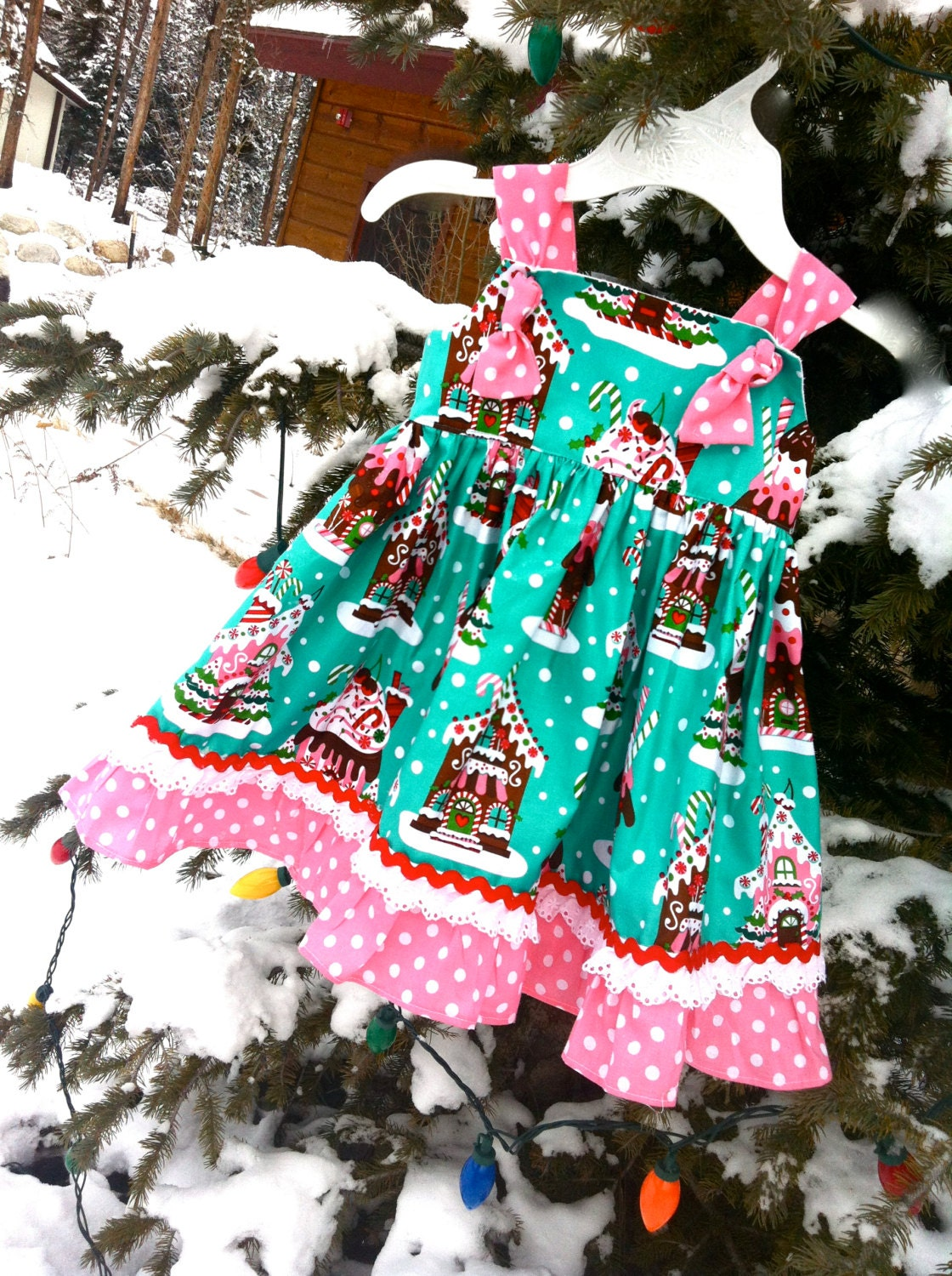Gingerbread house girls dress by sosohippo on etsy
