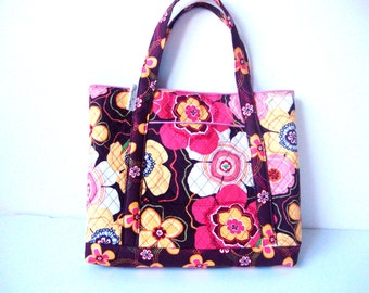 14 x 15 Brown, Peach, White, Pink, and Yellow Quilted Tote