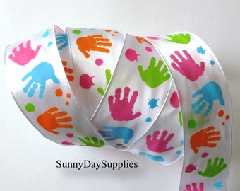"Child's Hand Print Ribbon, Painted Kids Hands, White Satin, Pastels, ""4 YARDS"", 1.5 inch wide, Kids, Crafts, Teachers, School, Preschool"