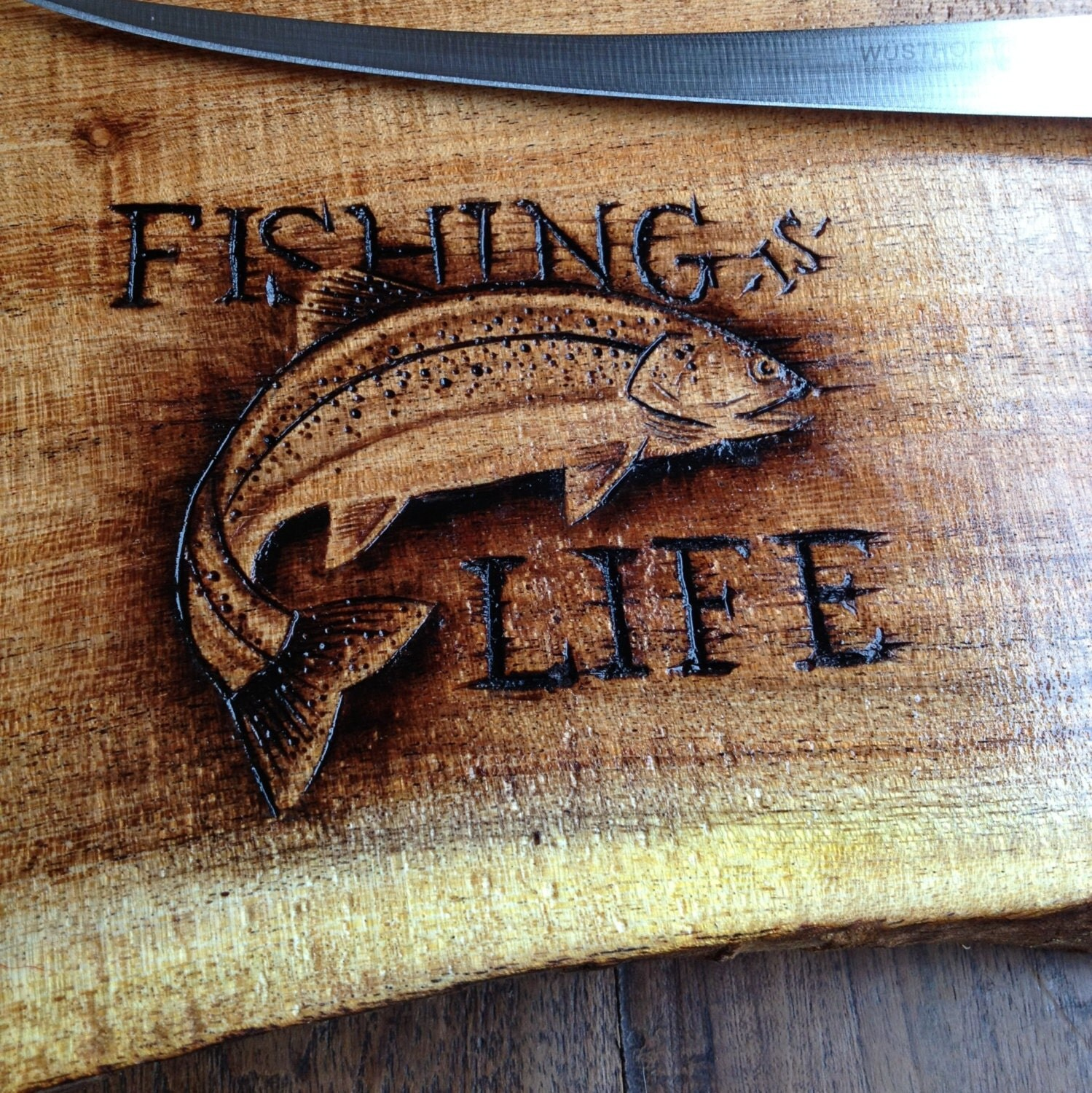 Fishing theme mesquite cutting board CREATE YOUR by SaintlyWood