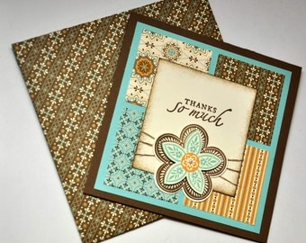 Thank You Greeting Card, Thanks, Thanks So Much, Flower, Flowers, Stripes, Brown, Blue, Orange, Mustard Yellow,Square, Stamped, Blank Inside