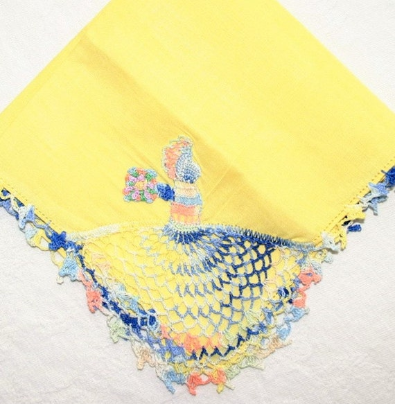 Ladies crochet lace sunny lemon yellow linen handkerchief / fancy victorian or southern belle lady in corner