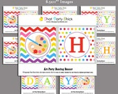 Painting Art Party Bunting Banner Printable - Instant Download for Painting Art Party - Rainbow Paint Collection
