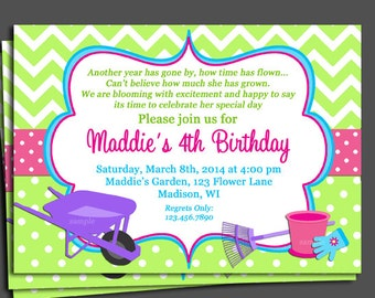 Gardening Birthday Invitation Printable or Printed with FREE SHIPPING - Blooming Birthday
