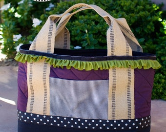 Ruffled Project Tote Pattern with Jute Webbing