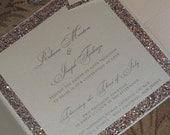 Glitter Wedding Invitation - Sparkle Wedding Invitation -  Gold