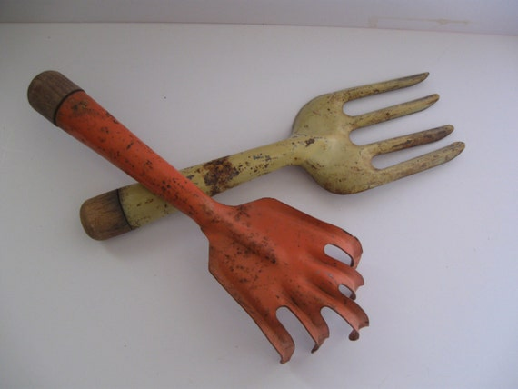 Vintage garden tools yellow forked garden by for Gardening tools vintage