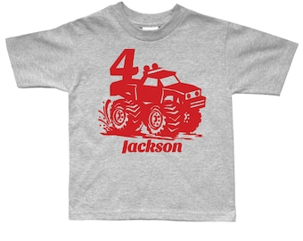 Monster Truck  Birthday Shirt - any age and name - pick your colors!