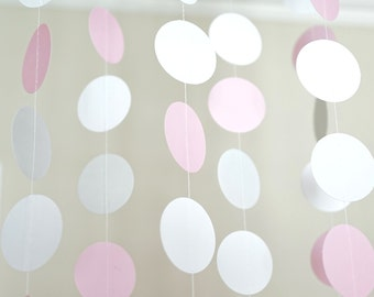 Pink, Gray, and White Paper Circle Garland, Photo Prop, Party Decoration, Event Decor