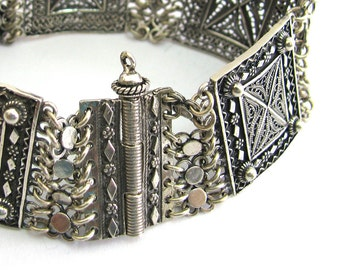 925 Sterling Silver Filigree Ethnic Bracelet Tube Bar Clasp - ID252