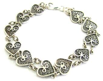 925 Sterling Silver Filigree Heart Bracelet - ID285