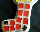 Christmas Stocking  Ornament with Red and Yellow Stained Glass