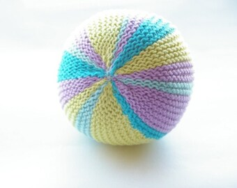 Knitted baby soft toy ball with bell. Plush toy. Montessori toy. Handmade. Striped lime green, lilac, turquoise, light blue. Stuffed toy