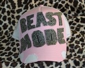 Pink Beast Mode Trucker  Bling Hat