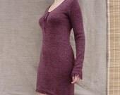 Burgundy dress, wool jersey dress, knit jersey dress with fringe, long sleeved dress, warm dress