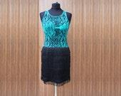 Black and green dress, fringe dress, snakeskin print dress, party dress, elastic dress