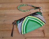 black and green wristlet pouch