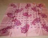 vintage ladies head neck scarf pink print