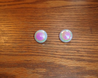 vintage clip on earrings glass irridescent