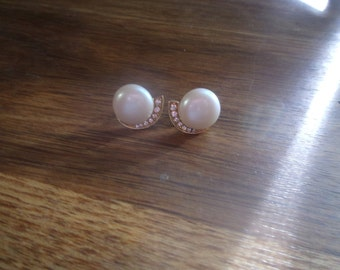 vintage clip earrings faux pearls rhinestones
