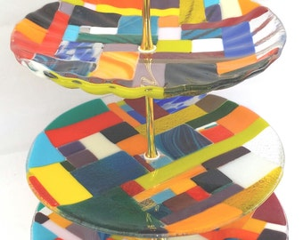 CUPCAKES stand/ 3 Plates stand fused glass hand made by dalit glass