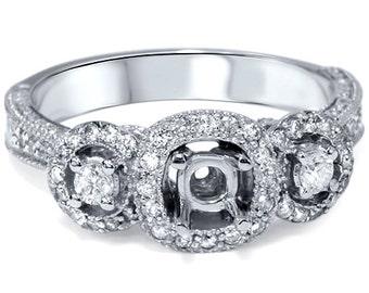 Vintage .55CT Diamond Semi Mount Engagement Ring White Gold Antique Setting Filigree Milgrain 14 Karat Size 4-9
