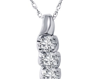 3 Stone Diamond Pendant  1/3 cttw 3 Stone Diamond Pendant 14K White Gold