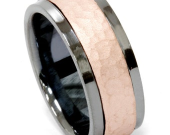 Mens 14K Hammered Rose And Black Gold 8MM Wedding Band Comfort Fit Ring Size 7-12