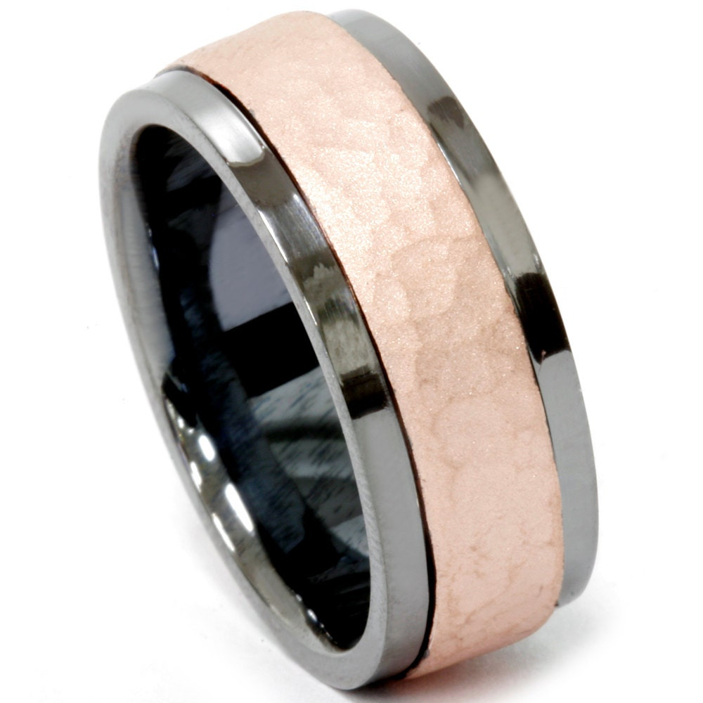 mens 14k hammered rose and black gold 8mm wedding band comfort. Black Bedroom Furniture Sets. Home Design Ideas