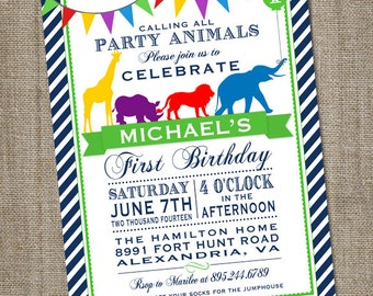 Calling All Party Animals Circus Parade Birthday Printable Party Invitation