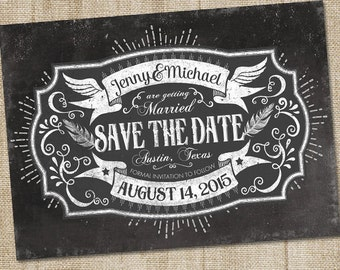 Chalkboard Save the Date, PRINTABLE, Chalkboard Wedding Announcement, Black and White Save The Dates, Unique Save The Date