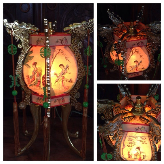 Traditional Japanese Home Decor: Vintage Chinese Japanese Golden Dragon Lantern Light Home