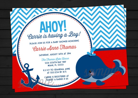 items similar to ahoy it's a boy - nautical baby shower, Baby shower invitations